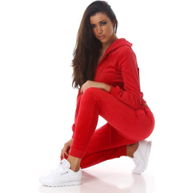 Jela London Damen Velours Jogginganzug Nicki Hausanzug, Rot M