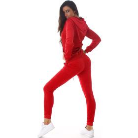 Jela London Damen Velours Jogginganzug Nicki Hausanzug, Rot L