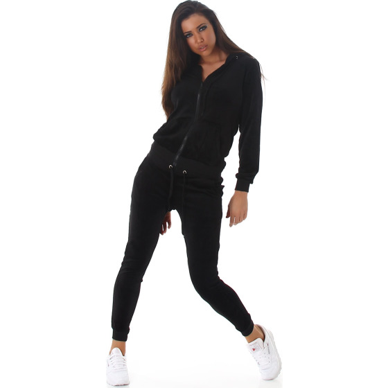 Jela London Damen Velours Jogginganzug Nicki Hausanzug, Schwarz S