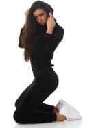 Jela London Damen Velours Jogginganzug Nicki Hausanzug, Schwarz M