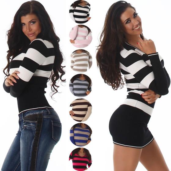 ... Jela London Damen Pullover   Longpulli Streifen V-Ausschnitt ... 92d12925af
