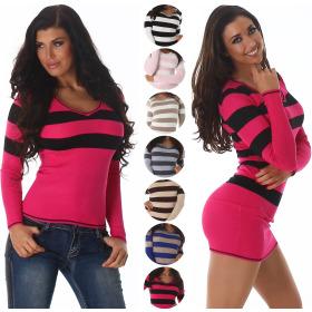 Jela London Damen Pullover & Longpulli Streifen...