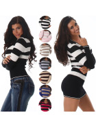 Jela London Damen Pullover & Longpulli Streifen V-Ausschnitt (34-38)