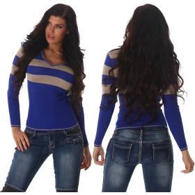 Jela London Pullover Longsleeve dünn Langarm-Shirt Streifen, Blau