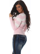 Jela London Pullover Longsleeve dünn Langarm-Shirt Streifen, Rosa