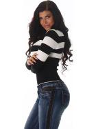 Jela London Pullover Longsleeve dünn Langarm-Shirt Streifen, Schwarz