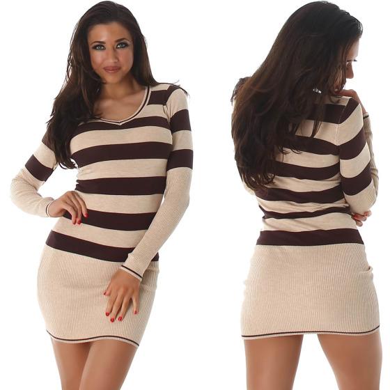 Jela London Longpulli Pullover dünn Minikleid Streifen, Beige