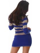 Jela London Longpulli Pullover dünn Minikleid Streifen, Blau