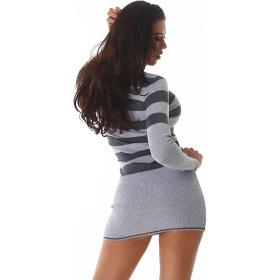 Jela London Longpulli Pullover dünn Minikleid Streifen, Grau