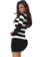 Jela London Longpulli Pullover dünn Minikleid Streifen, Schwarz