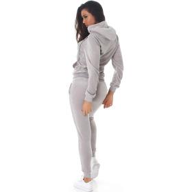 Jela London Damen Velours Jogginganzug Nicki Hausanzug, Grau S