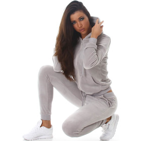 Jela London Damen Velours Jogginganzug Nicki Hausanzug, Grau L