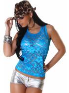 Jela London GoGo Tank-Top transparent geblümt Spitze Party, Blau