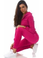 Jela London Damen Velours Jogginganzug Nicki Hausanzug, Pink S