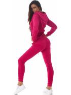 Jela London Damen Velours Jogginganzug Nicki Hausanzug, Pink M