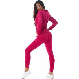 Jela London Damen Velours Jogginganzug Nicki Hausanzug, Pink L