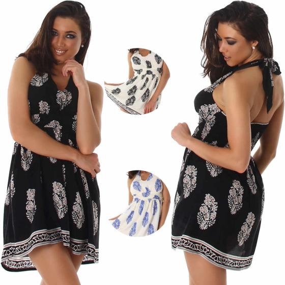 Voyelles Damen Neckholder Sommer-Kleid Retro Blumen-Musterung (34-40)