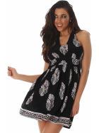 Sommer-Kleid kurz Retro Blumen-Musterung, Schwarz 34/36 S