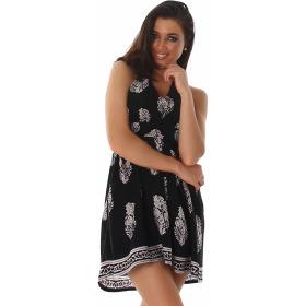 Sommer-Kleid kurz Retro Blumen-Musterung, Schwarz 38/40 L