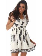 Sommer-Kleid kurz Retro Blumen-Musterung, Creme 34/36 S