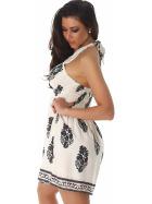 Sommer-Kleid kurz Retro Blumen-Musterung, Creme 36/38 M
