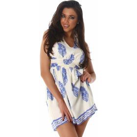 Sommer-Kleid kurz Retro Blumen-Musterung, Blau 34/36 S