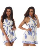 Sommer-Kleid kurz Retro Blumen-Musterung, Blau 36/38 M