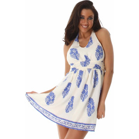 Sommer-Kleid kurz Retro Blumen-Musterung, Blau 38/40 L