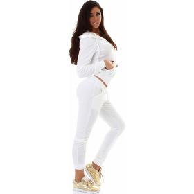 Jela London Damen Velours Jogginganzug Nicki Hausanzug, Weiß M