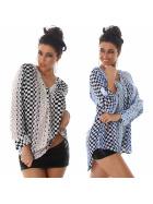 Voyelles Damen Vokuhila-Bluse Oversize Loose Fit V-Ausschnitt Langarm Muster (36-42)