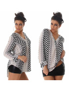 Vokuhila Bluse Langarm-Shirt Oversize Loose Fit, Beige 40