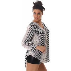 Vokuhila Bluse Langarm-Shirt Oversize Loose Fit, Beige 42