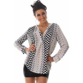 Vokuhila Bluse Langarm-Shirt Oversize Loose Fit, Beige 44