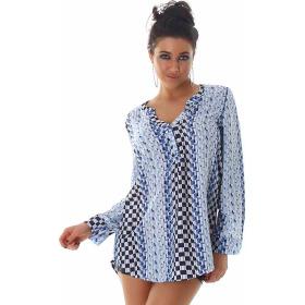 Vokuhila Bluse Langarm-Shirt Oversize Loose Fit, Blau 40