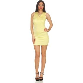 Voyelles Damen Minikleid Sommmer Etui Stretch Spitze, Gelb 34 36
