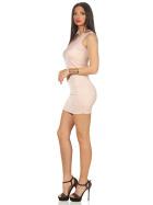 Voyelles Damen Minikleid Sommmer Etui Stretch Spitze, Rosa 34 36