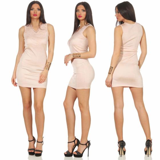 Voyelles Damen Minikleid Sommmer Etui Stretch Spitze, Rosa 38 40