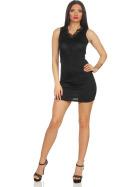 Voyelles Damen Minikleid Sommmer Etui Stretch Spitze, Schwarz 34 36