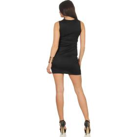 Voyelles Damen Minikleid Sommmer Etui Stretch Spitze, Schwarz 36 38