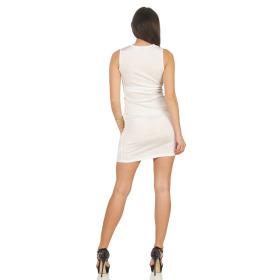 Voyelles Damen Minikleid Sommmer Etui Stretch Spitze, Weiss 34 36