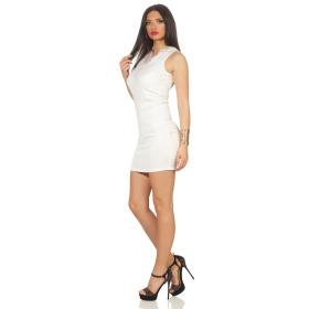 Voyelles Damen Minikleid Sommmer Etui Stretch Spitze, Weiss 36 38