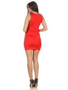 Voyelles Damen Minikleid Sommmer Etui Stretch Spitze, Rot 34 36