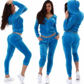 Jela London Damen Velours Jogginganzug Nicki Hausanzug, Hell-Blau S