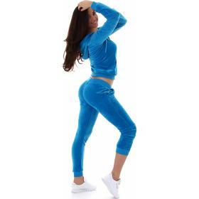 Jela London Damen Velours Jogginganzug Nicki Hausanzug, Hell-Blau M