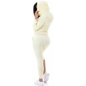 Jela London Damen Velours Jogginganzug Nicki Hausanzug, Pastell Gelb M