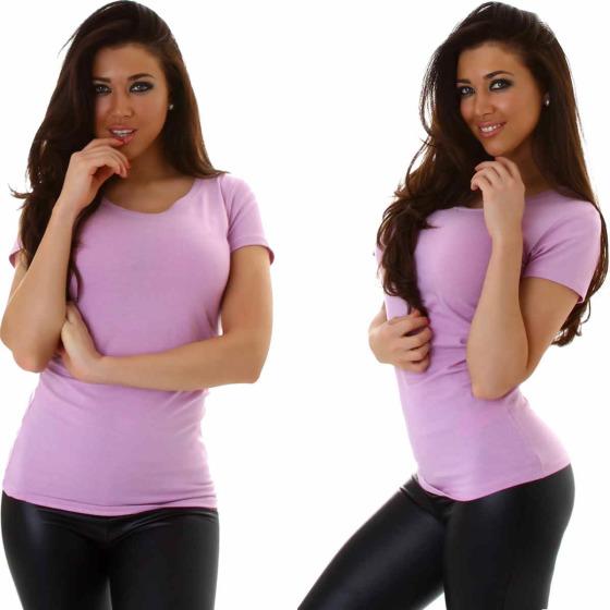 Jela London Damen Longshirt T-Shirt Rundhals Kurzarm Violett 38 XL
