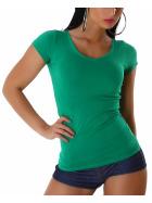 Jela London Damen Longshirt T-Shirt V-Ausschnitt Kurzarm Grün 40 XXL
