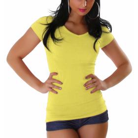 Jela London Damen Longshirt T-Shirt V-Ausschnitt Kurzarm Gelb 40 XXL