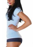 Jela London Damen Longshirt T-Shirt V-Ausschnitt Kurzarm Hellblau 40 XXL