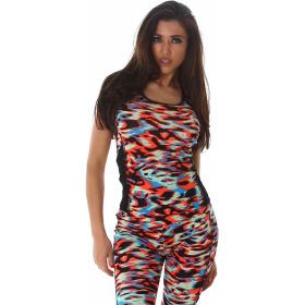 SL1 Damen Sportanzug Trainingsanzug Fitness-Set Top Leggings, Bunt SM